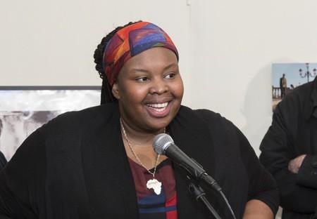 Khadija Saye talking at the opening of the Diaspora Pavilion, Venice, 2017