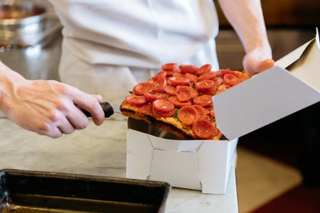 The good kind of grease: oil swims in the curved pepperoni cups at Lions & Tigers & Squares