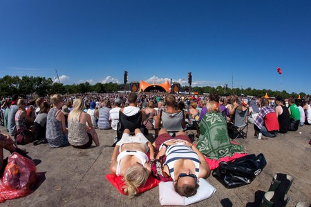 Relaxing in front of the Orange Stage at Roskilde Festival