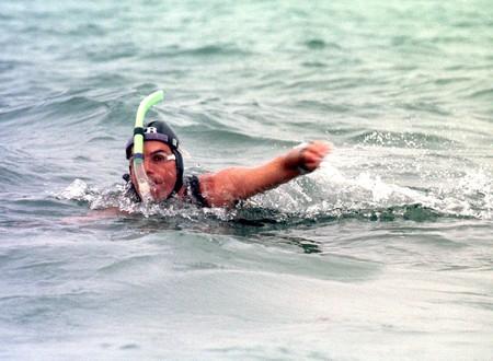 Ben Lecomte swimming across the Atlantic Ocean in 1998