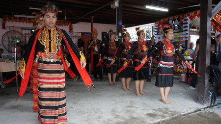 Dancers with traditional costumes during the Harvest Festival in Sabah