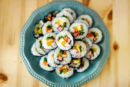 Gimbap is a Korean food made from steamed white rice and various other ingredients