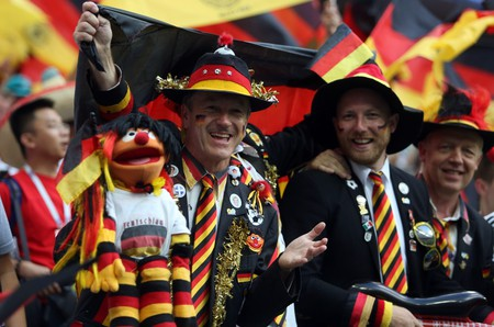 German fans in the stands at Fifa World Cup Russia 2018