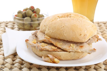 Traditional Portuguese pork beef sandwich bifana