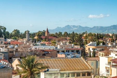 An aerial view of downtown Nicosia, Cyprus