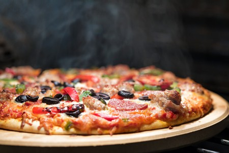 Hot supreme thin crust pizza