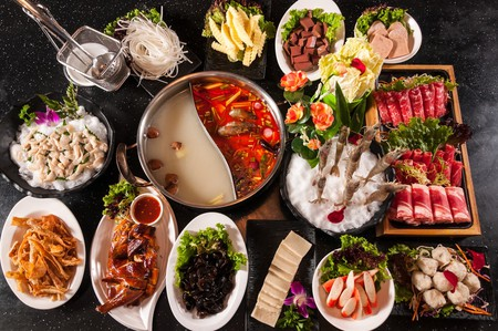 Thai hot pot with fresh ingredients