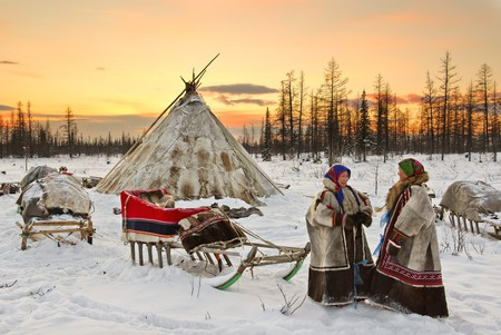 Nenet women with a sled