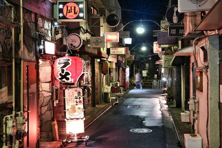 Narrow streets of Golden Gai restaurant area in Tokyo, Japan