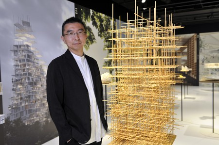 Sou Fujimoto in his exhibition 'Futures of the Future' at Japan House London