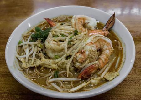 Sarawak's famous laksa with prawns