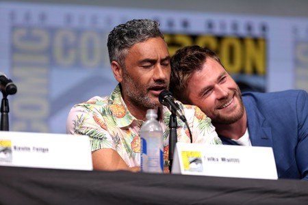 Taika Waititi and Chris Hemsworth during a press junket for Thor: Ragnarok