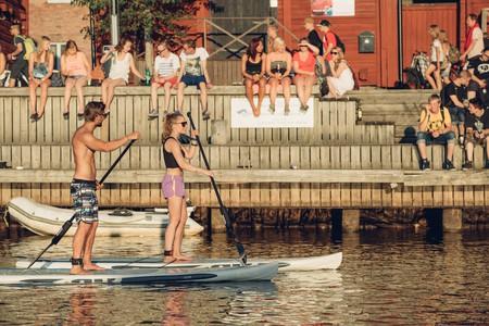 Sup boarding in summery Oulu, Finland.