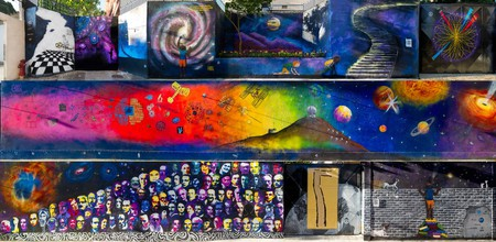 The various segments of the street mural dedicated to science