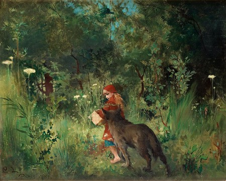 A painting of Little Red Riding Hood