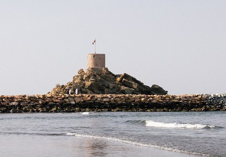Al Sahel Fort looking over the sea in Quriyat, Oman
