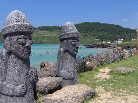 Dol Hareubang statues on Jeju Island, South Korea
