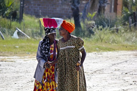 Namibian women in the town of Otjiwarongo in the Otjozondjupa region.