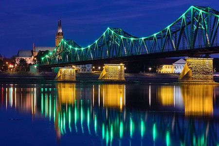 Lights on the river in Włocławek, Poland