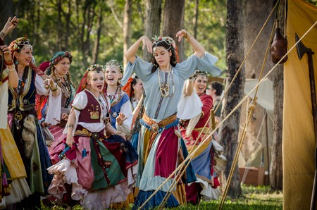 Dancers in traditional Romani costume at the Abbey Medieval Tournament