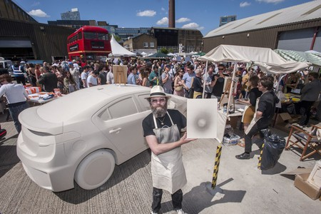 Gavin Turk's canvases made from exhaust fumes each sold for £300 at the Art Car Boot Fair 2014