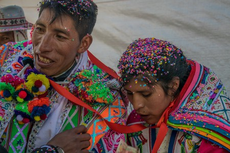 In a traditional Andean wedding ceremony the couple's unification is celebrated in the presence of their most revered goddess, Pachamama