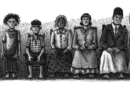 The Torajans of Indonesia create realistic wooden effigies of their dead called tau tau. Illustrated by Landis Blair