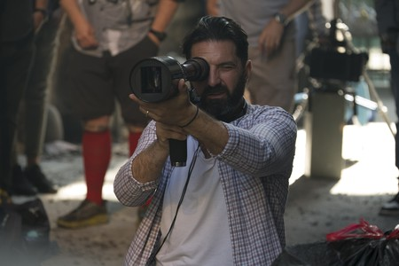 Drew Pearce on the set of Hotel Artemis
