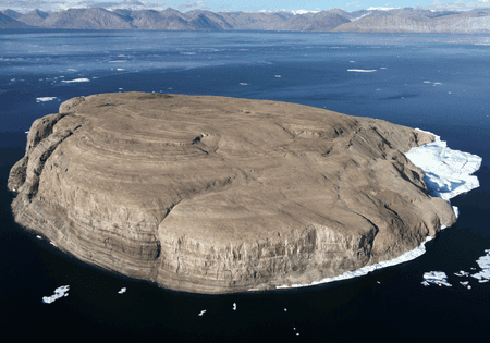 Hans Island is located in the middle of the Nares Strait in Arctic Sea