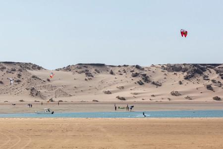 Kitesurfing at Dakhla, Western Sahara, Africa