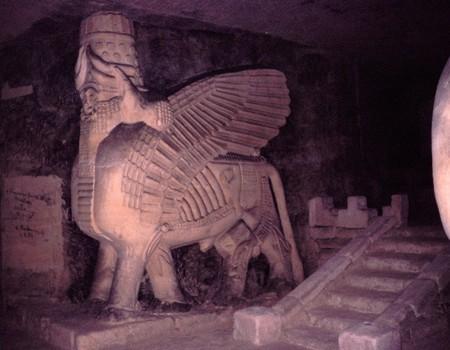 A statue of a cherub inside the Jezuïetenberg Caves