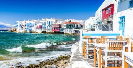 Little Venice waterfront houses, Mykonos, Greece.