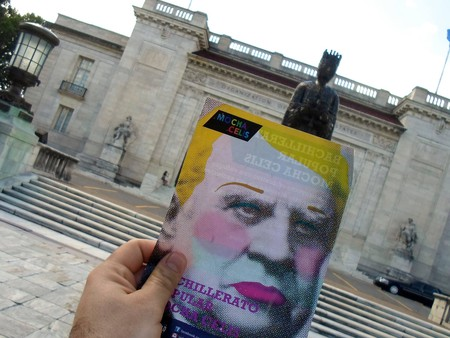 The Mocha Celis School uses a remixed image of Domingo Sarmiento, Argentina's foremost educator and 19th-century president