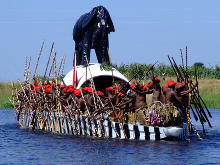 Members of the Lozi tribe in their Nalikwanda boat, a symbol of kingship