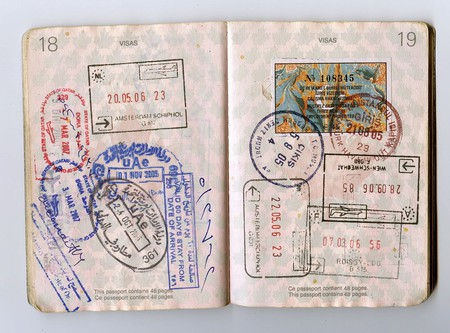 Passport stamps in a Canadian passport
