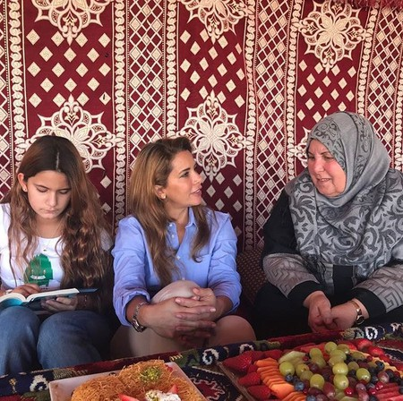 Princess Haya Bint Hussein with daughter (left)