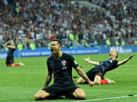 Croatia celebrate beating England in the 2018 World Cup semi-finals
