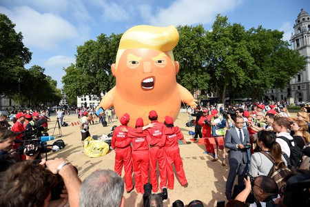 Trump baby blimp takes flight in London