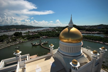 View from the top of Omar Ali Saiffudien Mosque
