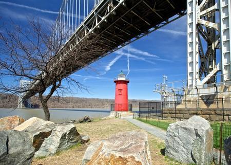 Little Red Lighthouse next to the George Washington Bridge, Manhattan