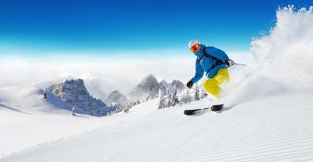 Beautiful powder on the slopes of the Dolomites