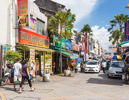 Streets of Little India, Georgetown in Penang, Malaysia.