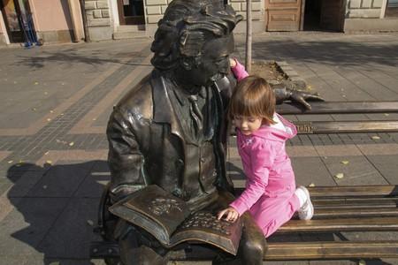 Statue of poet Laza Kostic in Sombor , Serbia