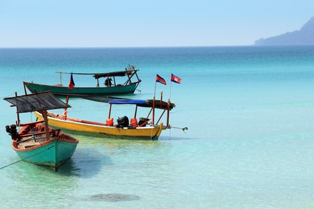 Boats with flags, Cambodia