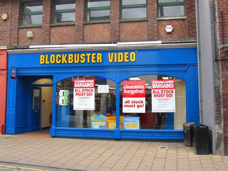 One of many closed Blockbuster storefronts