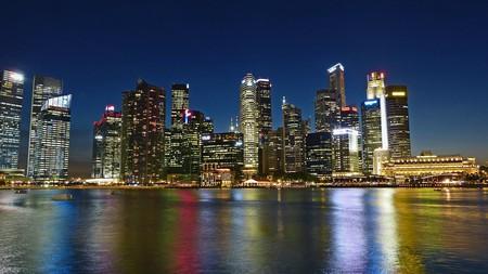 Panoramic view of Singapore river skyline
