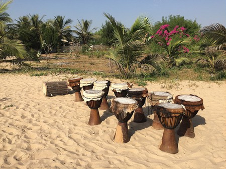 Djembe drums on The Gambia's Paradise Beach