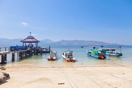 Beachfront and main pier from Jalan Pantai, Gili Air