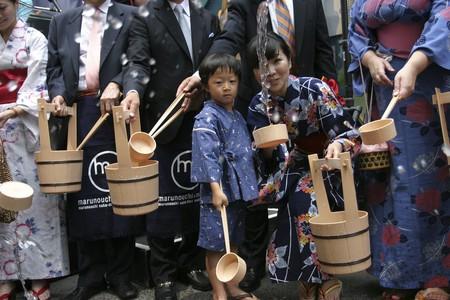 Uchimizu ceremony at a summer festival