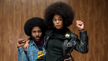 John David Washington and Laura Harrier in 'BlacKkKlansman'